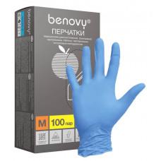 BENOVY, Нитриловые перчатки, синие, размер «M» 200 шт/упак.