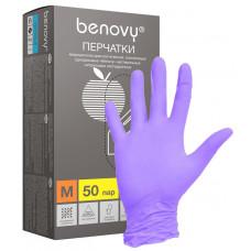 BENOVY, Нитриловые перчатки, фиолетовые, размер «S» 100 шт/упак.