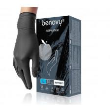 BENOVY, Нитриловые перчатки, черные, размер «L» 100 шт/упак.